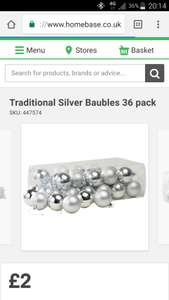 Traditional Silver Baubles 36 pack £2 instore @ Homebase