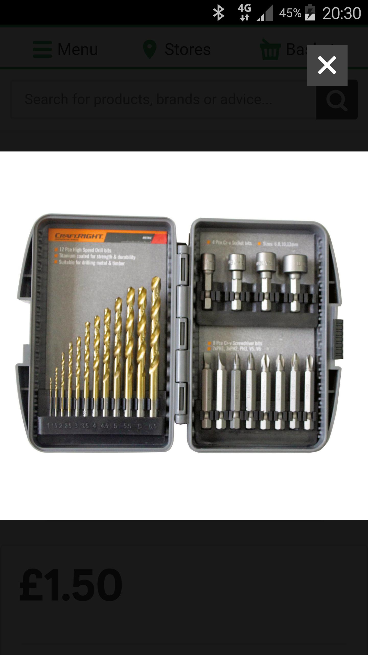 Craftright 24 Piece High Speed Drill & Bit Set £1.50 @ Homebase