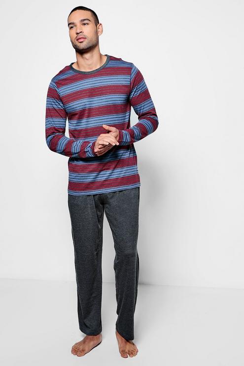 Striped Jersey Long Sleeve PJ Set for £7 @ Bohoo