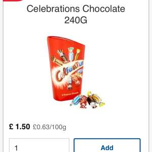 Celebrations chocolate 240g for £1.50 @ Tesco instore/online