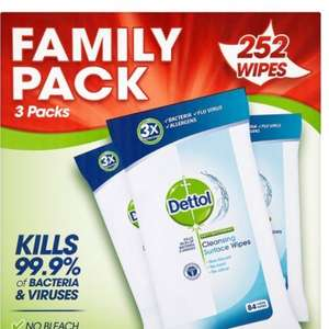 Dettol Anti-Bacterial Cleaning Surface Wipes, 252 Wipes £5 / £0.02 per wipe!! £4.75 S&S @ Amazon