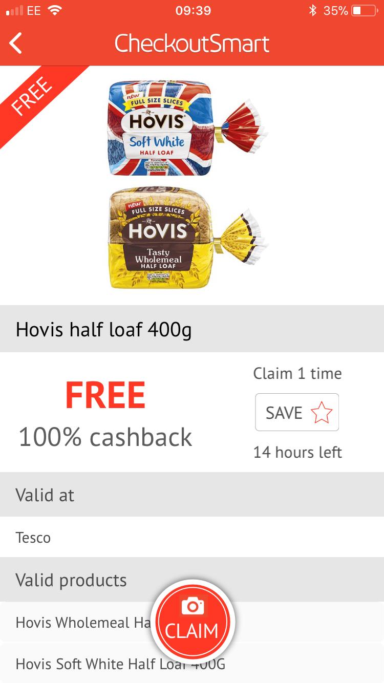 Free Hovis Half Loaf Bread 400 gm at Tesco @ Checkoutsmart