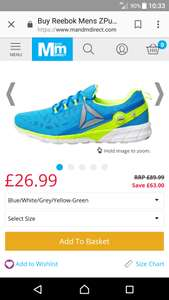 Reebok pump zpump fusion 2.5 running shoe £31.48 delivered @ M&M direct