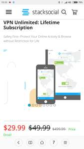 Vpn unlimited lifetime subscription for five devices £22.44 @ Stack social