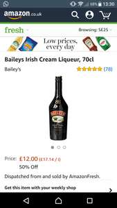 Bailey's 70cl 50% off Amazon fresh - £6 (For orders over £40) monthly cost of Amazon fresh £6.99