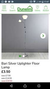 Bari silver uplighter floor lamp £3.50 @ dunelm