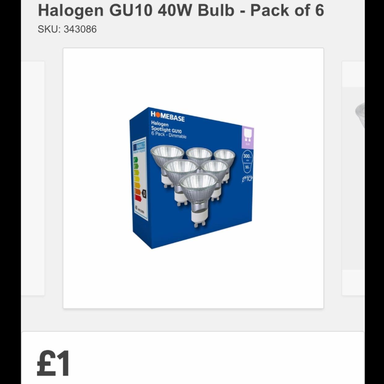 Halogen g10 40w Bulbs Pack of 6 @ Homebase