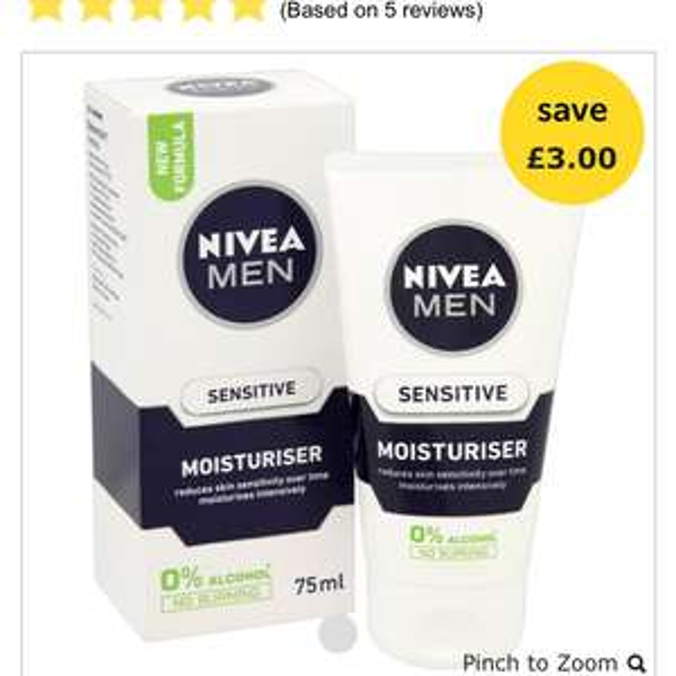 Nivea For Men Moisturiser Sensitive 75ml £3 @ Wilko