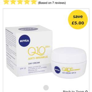 Nivea Q10 Plus Anti-Wrinkle Day Cream SPF 15 50ml £5 @ Wilko
