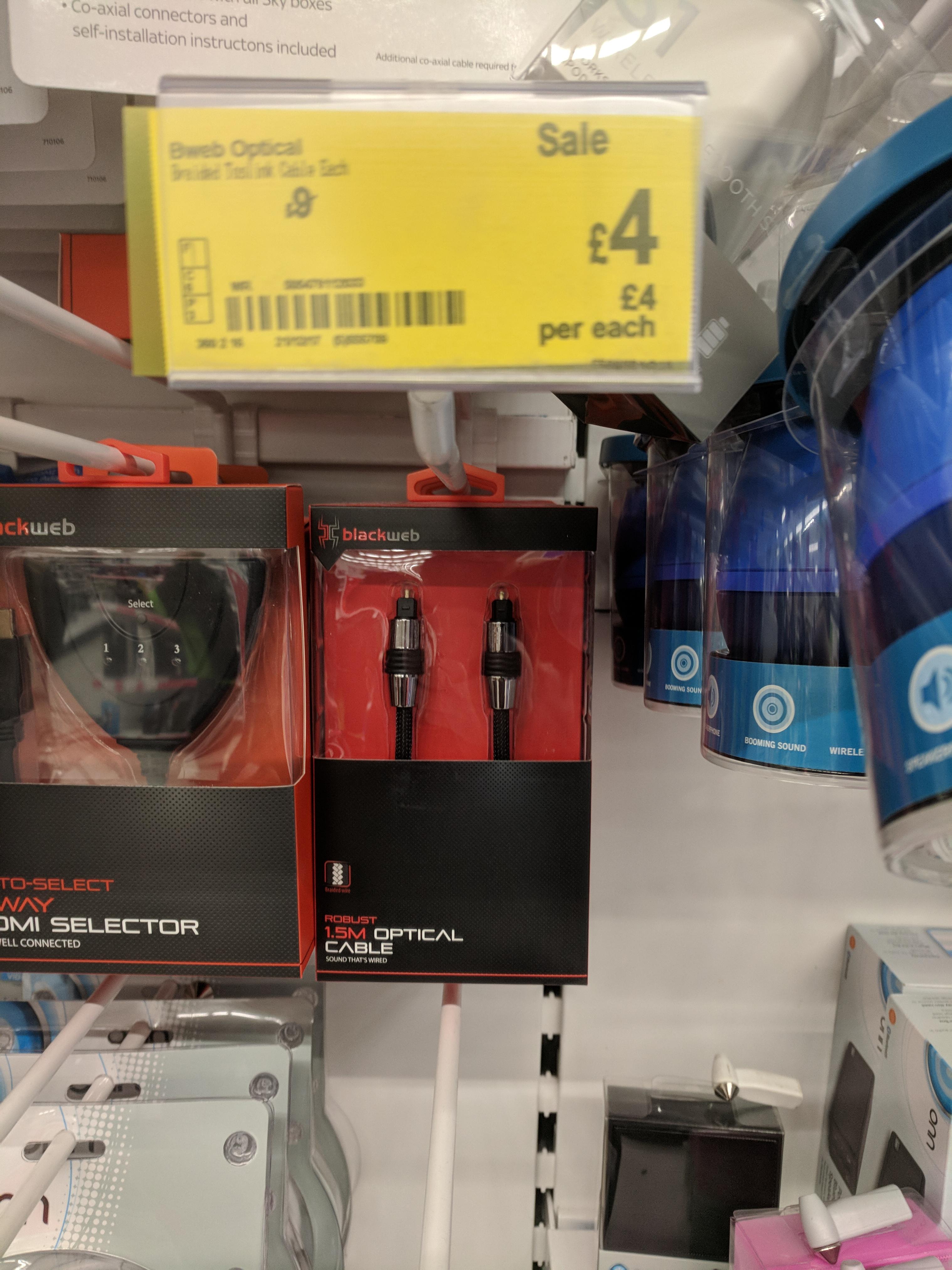 1.5m Digital Optical Audio Lead by Blackweb was £9 in Asda