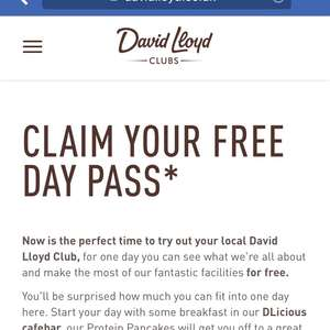 David Lloyd gym, free day pass