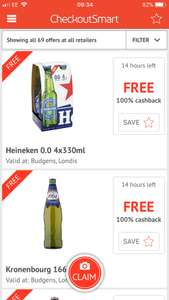 Free Heineken and Kronenburg @ Budgens and Londis vía Checkoutsmart