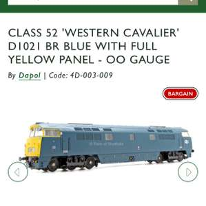 Dapol CLASS 52 'WESTERN CAVALIER' D1021 BR BLUE WITH FULL YELLOW PANEL - OO GAUGE £69.99 / £73.50 delivered @ Railsofsheffield