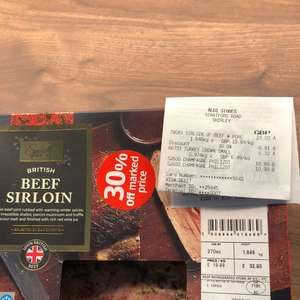 Aldi glitch sirloin steak joints double discount £9.79
