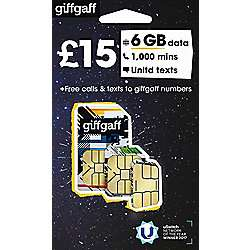 £15 giffgaff 6GB 1000min unltd txt for 99p @ tescodirect