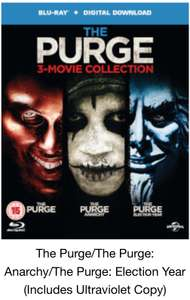 Purge 3 film collection Blu Ray £8.71 prime / £10.70 non prime @ Amazon