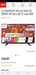 LG 49UH610V - 4K with HDR £384.99 @ Argos