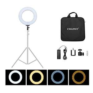 """LIGHTNING DEAL. 18"""" 85W Dimmable Bi-colour 448 LED Ring Light + Foldable Softbox Reflector - £62.39 Free standard del - Sold by CraphyUK / Fulfilled by Amazon"""