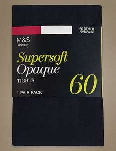 60 Denier Supersoft Opaque Tights, dark navy, green or red, £1.25 free c&c @ m&s