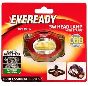 Eveready 3W Head Lamp with Straps @ £3.99 - B&M (in-store)