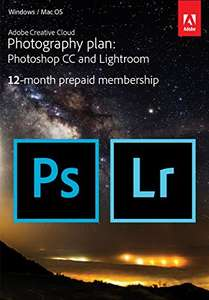 Adobe Creative Cloud Photography plan with 20GB: Photoshop CC + Lightroom CC | 1 Year Licence | Online Code & Download @ Amazon £74.25