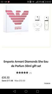 Armani Diamonds  perfume set - 50ml bottle and 15ml travel bottle. £35.32 at Boots