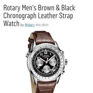 Rotary Men's Brown & Black Chronograph Leather Strap Watch £49.99 - Argos