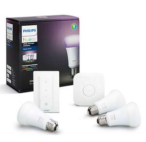 Google Home Hands-Free Smart Speaker + Philips Hue Starter Kit with 3 Bulbs, 10W E27 Edison £169.99 -  John Lewis