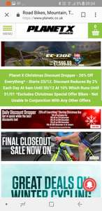 20% off selected products at Planet x bikes