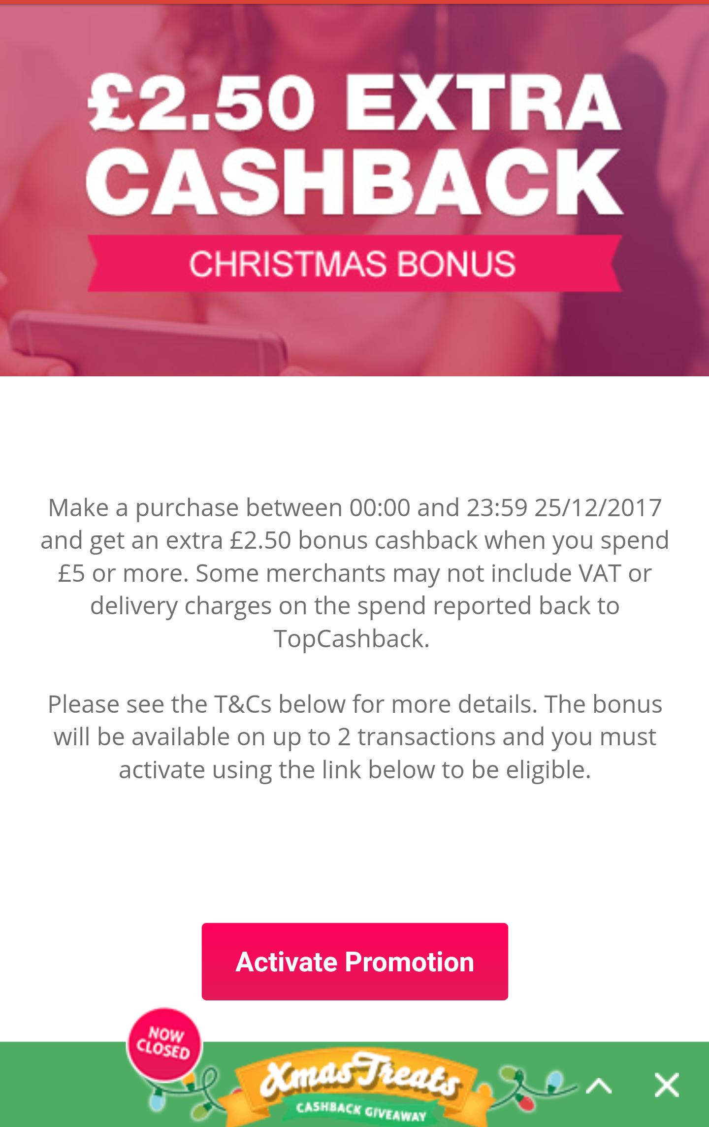 Topcashback £2.50 extra cashback bonus on order over £5