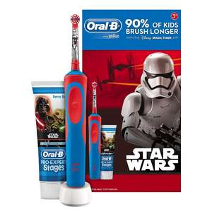 Oral-B Stages Power Kids Electric Toothbrush Featuring Star Wars Characters, Gift Pack Including Toothpaste £10 Prime / £13.99 Non Prime @ Amazon