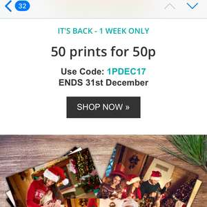 Truprint : 50 photos for 50p plus £2.99 p&p. Anyone know of Free p&p code