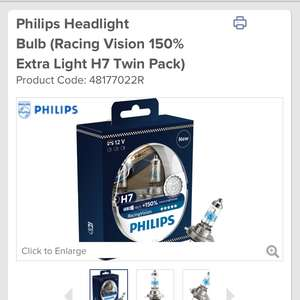 Philips Headlight Bulb (Racing Vision 150% Extra Light H7 Twin Pack) £23.99 @ Euro Car Parts