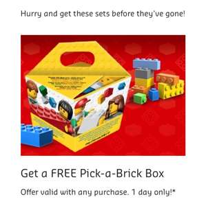 Free with any purchase pick a brick box one day only  @ LEGO