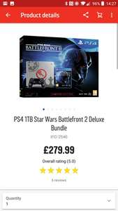 PS4 1TB Star Wars Battlefront 2 Deluxe Bundle at Argos for £279.99