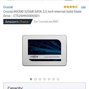 Crucial MX300 525GB SATA 2.5 Inch Internal Solid State Drive - CT525MX300SSD1 at Amazon for £110