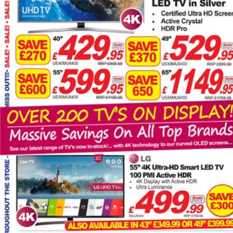 "LG 55"" 4K HDR 55UJ634V tv for £499 at sonic direct instore"