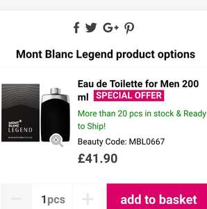 Mont Blanc Legend edt 200 ml deal £41.90 / £45.89 delivered @ Notino