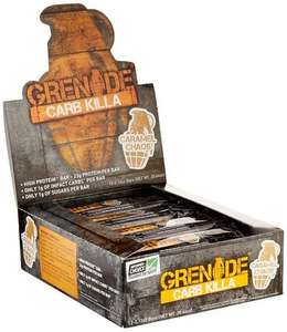Grenade Carb Killa Caramel Chaos Protein bars x 12 - £15.99 / £15.19 S&S @Amazon
