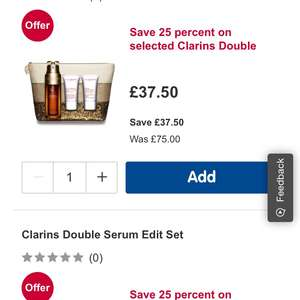 Clarins Double Serum Sets Half Price at Boots, free click & collect, free postage over £45 or £3.50 if under @ Boots