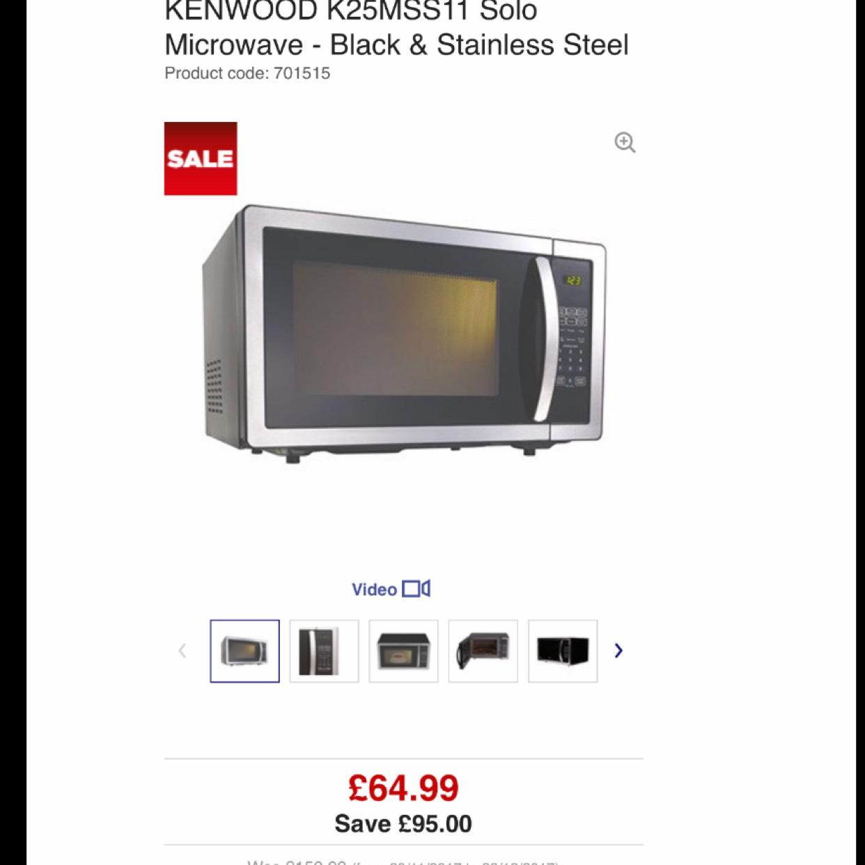 Kenwood K25MSS11 Microwave £64.99 @ Currys