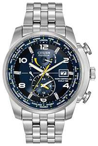 Citizen Watch World Time A.T Men's Quartz Watch with Blue Dial Analogue Display and Silver Stainless Steel Bracelet at Amazon for £219