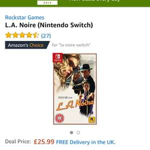 L.A. Noire (Nintendo Switch) £25.99 @ amazon