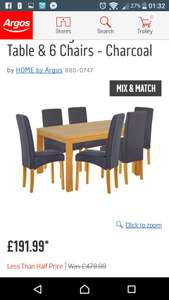 Dining table & 6 chairs at Argos for £191.99