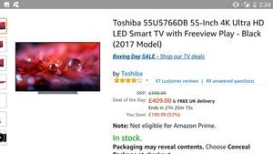 Toshiba 55U5766DB 55-Inch 4K Ultra HD LED Smart TV at Amazon for £409