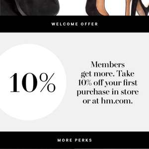 H&M 10% off first purchase when you join H&M club