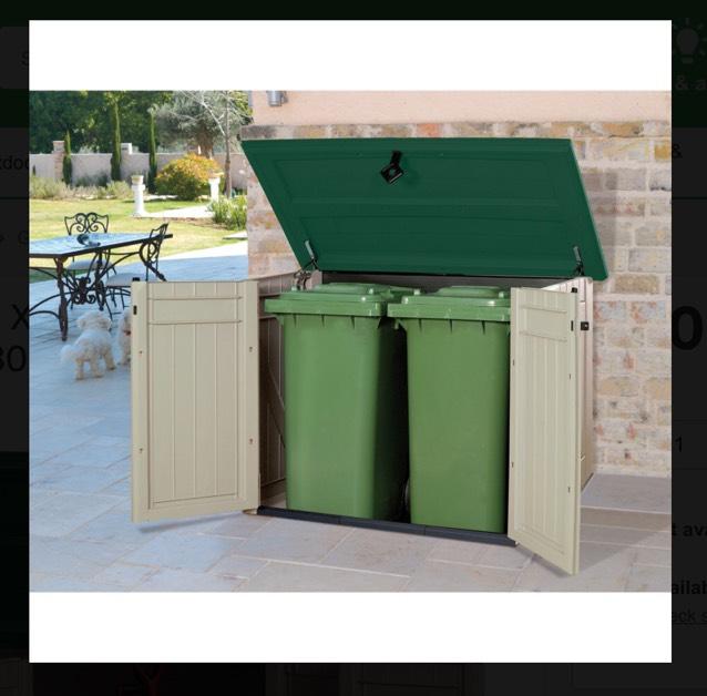 Keter 1300l (2 wheelie bin) garden storage £30 @ Homebase