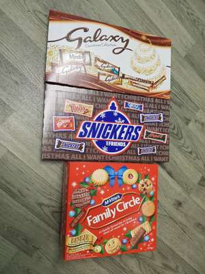 Snickers And Galaxy Selection Boxs And Family Choice Biscuits Half Price £1.50 Sainsbury's Instore