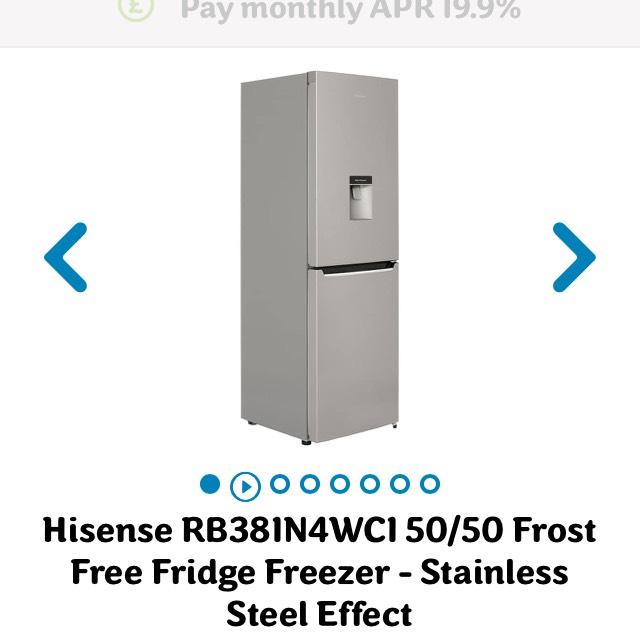 Hisense 50/50 Frost Free Fridge Freezer - Stainless Steel Effect (293L) £269 @ AO