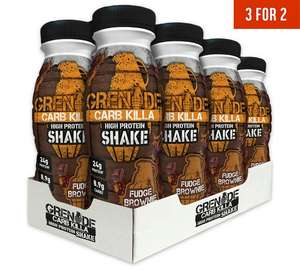 Offer Stack - Grenade Carb Killa Protein Shake in Fudge Brownie & / or  Chocolate Mint - 8 x 330ml £12.79 each with code Plus 3 for 2 - so 24 for £25.58 @ Argos